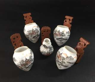 Vintage Mata Puteh Bird Cups With Wooden Holder Set Of 5