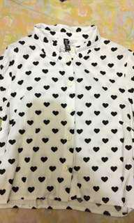 H&M hearts cropped long sleeves
