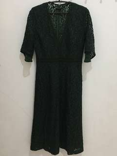 Zara Green Lace Midi Dress End 2017 Collection AUTHENTIC