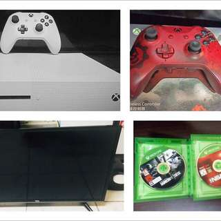 Xbox 1 S (2 controllers, 32-inch TCL TV, 2 Games included)