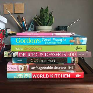 Cook books and baking books in excellent condition