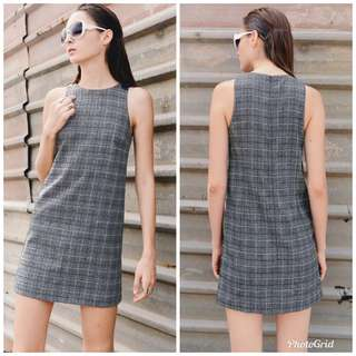 Fashmob Grids and Lines Dress in Light Grey