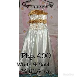 White & Gold Motiff Gown