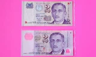 Singapore $2 Note x 2pcs