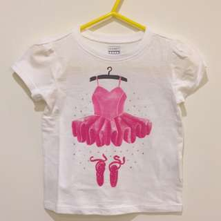 AmyGO 美國 Old Navy 純棉 白色 短袖 芭蕾舞衣 T恤 18-24M