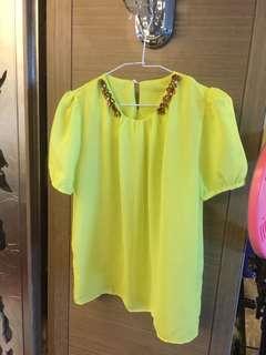 🚚 特賣❤️亮黃綠色寶石雪紡上衣