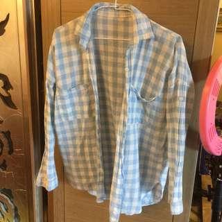 🚚 特賣❤️藍白格紋防曬襯衫罩衫