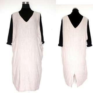 Beige Overall Dress+Black Highneck