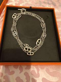 Hermes 银色经典项链