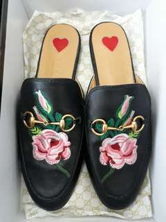 Gucci Shoes Princetown Embroidered Leather Slippers