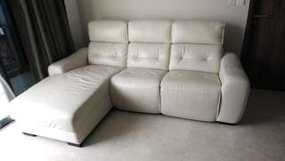 White L-Shape Leather Sofa with Electronic Recliner