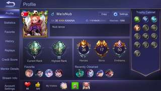 Selling mobile legend acct