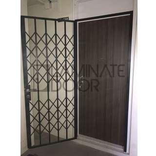 3x7ft Single Leaf Laminate Main Door + Designer Mild Steel Gate for HDB at $1388