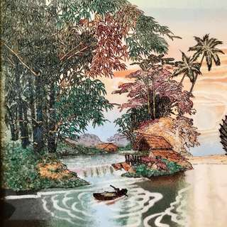 Intricate gemstones picture / Chinese painting of sailing boats 一帆风顺