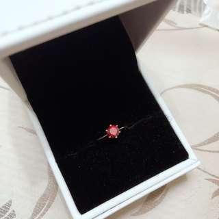 香港自家品牌 Crystal Zahara 鍍18k玫瑰金 紅色蘇聯鑽戒指