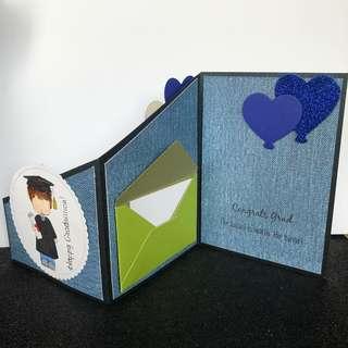 Graduation z fold card blue