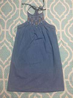 Bershka Chambray/Soft Denim Halter Midi Dress