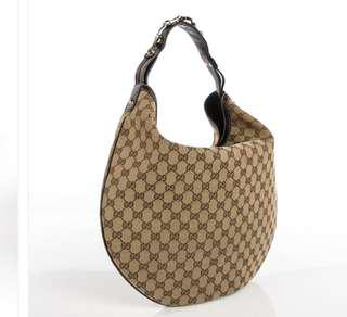 Authentic GUCCI Monogram Large Wave Hobo Dark Brown