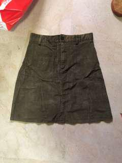 [3 FOR $10] green suede skirt