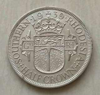 Southern Rhodesia 1939 Key Date 1/2 Crown Silver Coin With Good Details