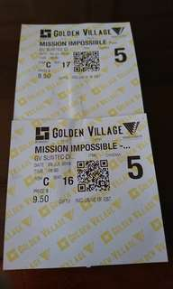 2 GV Tickets Suntec : Mission Impossible
