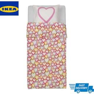 IKEA VITAMINER HJÄRTA Quilt cover and pillowcase, multicolour