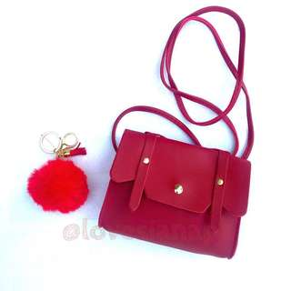 Hailey sling bag for kids (red) + free fur ball
