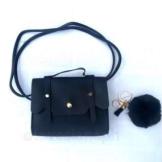 Hailey sling bag for kids (black) + free fur ball key