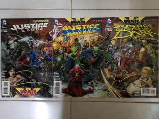 DC COMICS THE NEW 52 JUSTICE LEAGUE #22, JUSTICE LEAGUE OF AMERICA #6 & JUSTICE LEAGUE DARK #22 SET INTERCONNECTING COVERS