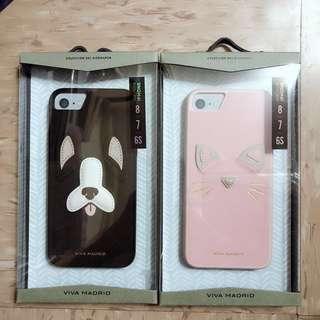 iPhone 6/7/8 黑色狗狗/粉紅色貓貓皮套