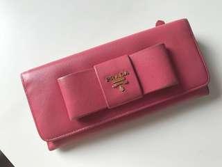 Prada long wallet pink ribbon