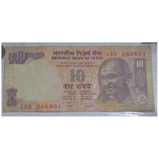 Foreign Bank Note - India 10 rupees