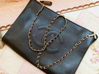 Vintage Chanel黑色魚子醬Clutch/公事包/chain bag 37x16x5cm