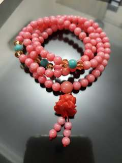 Pink Agate Mala Necklace / Beads