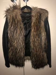 Bardot fur jacket with leather sleeves