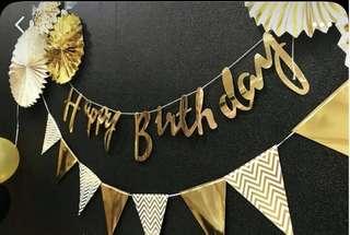 💕 Gold Generic Birthday Banner / Birthday bunting / birthday deco / party deco