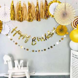 Generic Rose Gold / Gold Birthday Banner - party deco