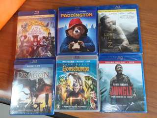 USA Blu Ray - Alice 2 = $28, Paddington = $24, Lost City of Z = $15,  I am Dragon = $22, Goosebumps 3D = $35, Jungle = $22
