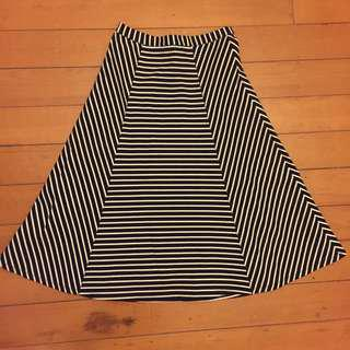Forever New striped a line skirt size 8 high waisted