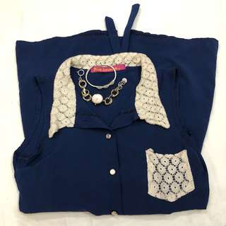 Royal Blue Long Blouse