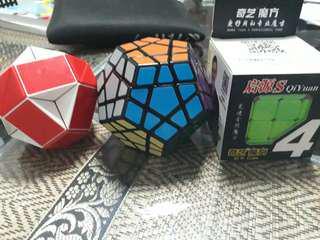 Rubiks cubes and snake cube ( Megamix , 4×4 )