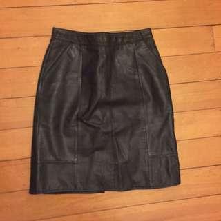 Vintage leather wiggle midi skirt size 8/10 high waisted