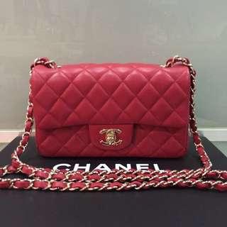 Authentic Chanel Mini Rectangular Lambskin Red GHW