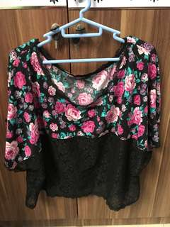Black Rose Pink Short Sleeve Blouse with Black Lace