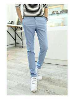 男裝天藍色長褲 修身直筒 Mens Chino Trousers slim fit