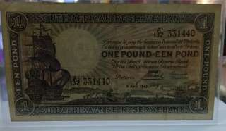 South Africa reserve bank 1 pound 1943 issue