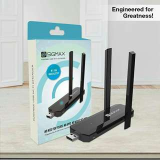 SIGMAX Wireless USB Wi-Fi Extender/Repeater (300Mbps). Php 899 + shipping fee.