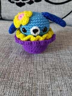 Crochet dog cupcake