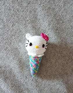 Crochet hello kitty cone