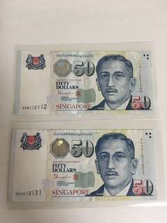 Singapore $50 notes with nice number